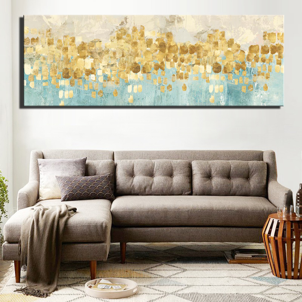 Digital HD Print Abstract Gold Color Canvas Paintings For Bed Room Wall Unframed Turquoise Color Modern Home Wall Decor Pictures