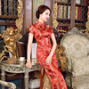 New Arrival Red Chinese National Trend Satin Cheongsam Vintage Long Qipao Evening Dress Oversize S M