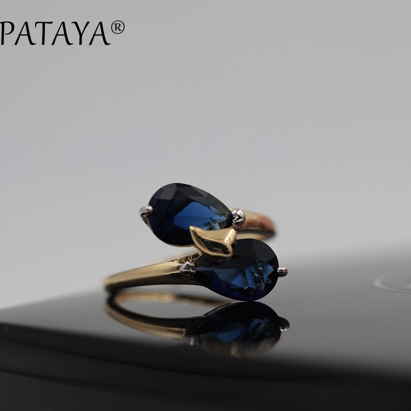 PATAYA New Arrivals Brand Rings 585 Rose Gold Ring Dark Blue Double Water Drop Natural Zircon Ring Women Trendy Wedding Jewelry