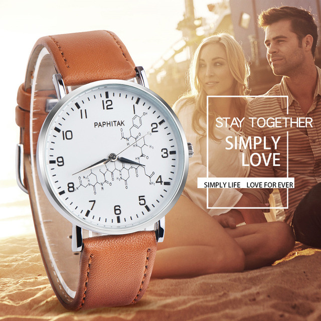 Fashion Couple Watch Retro Simple Pattern Design Leather Band Analog Alloy Quart