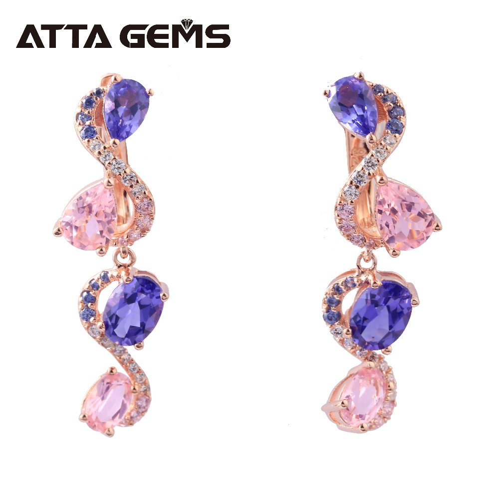 Tanzanite Sterling Silver Womens Drop Earrings Special Design Rose Gold Plated S925 Earring Created Tanzanite Faced Fine JewelsTanzanite Sterling Silver Womens Drop Earrings Special Design Rose Gold Plated S925 Earring Created Tanzanite Faced Fine Jewels