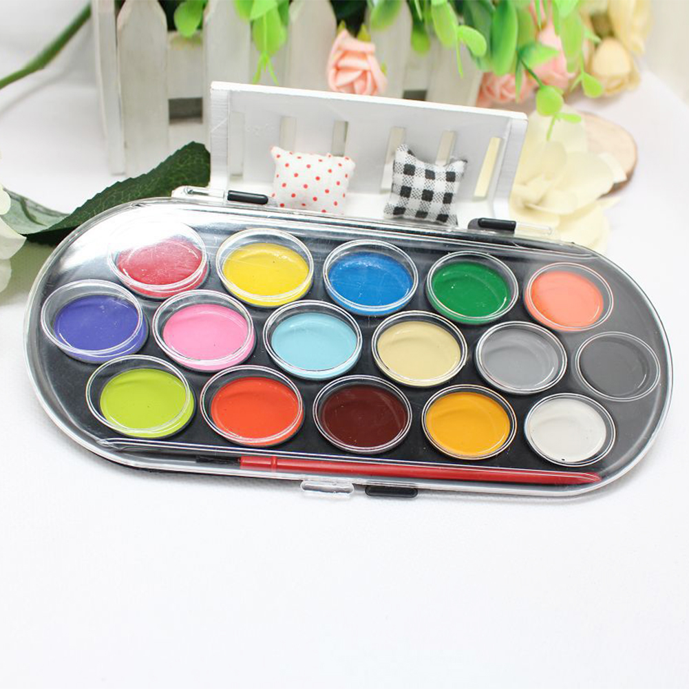 Professional Solid Gift Paint Box Portable Paintbrush DIY Water Color Handwork 16 Colors Art Paint Brush Sketch Kids Tool ToyProfessional Solid Gift Paint Box Portable Paintbrush DIY Water Color Handwork 16 Colors Art Paint Brush Sketch Kids Tool Toy