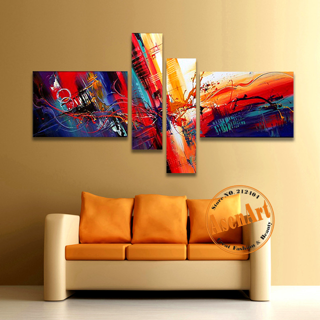 Modern canvas painting colorful abstract art 4 piece artwork hand painted oil pictures home living room