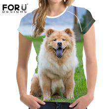 FORUDESIGNS Chow Printed T Shirt Women 3D Dog Pattern Tee Femme for Teenagers Girls Summer Tops Funny Tshirt Couple Tees
