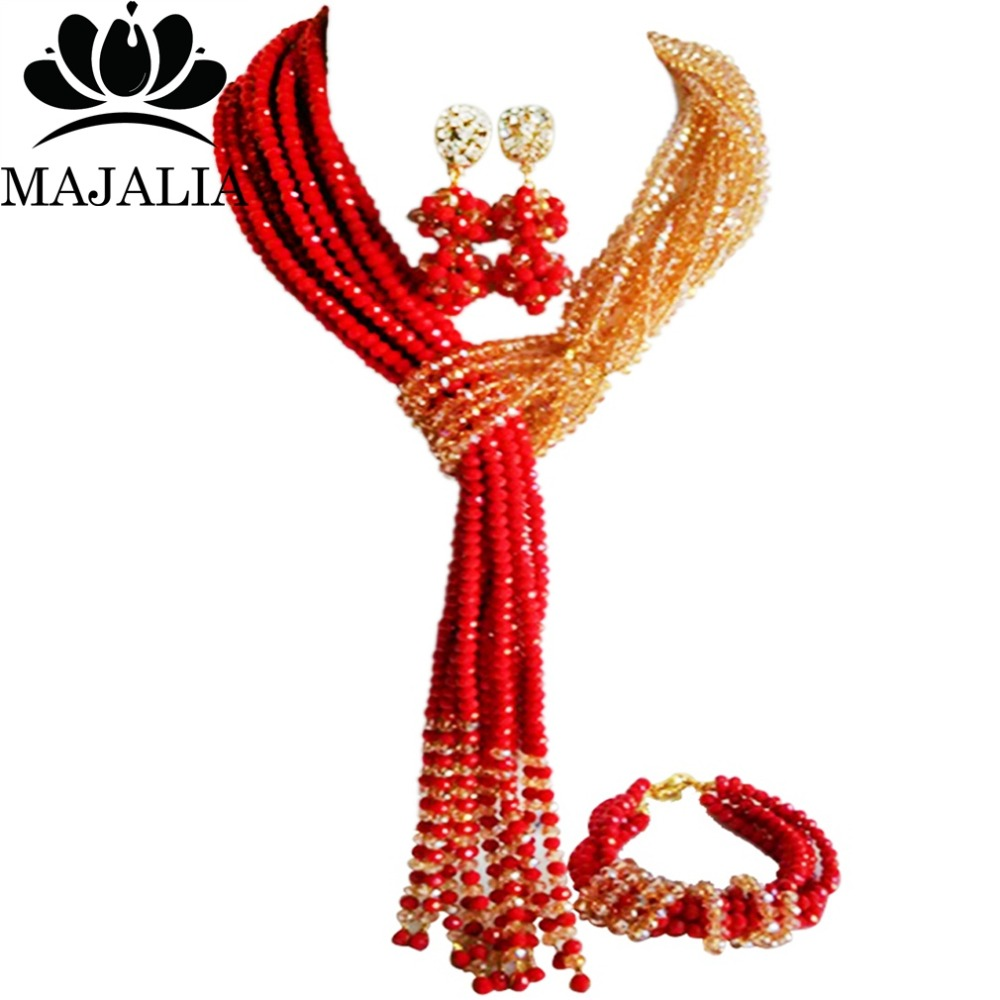 Nigerian wedding African beads jewelry set crystal red necklace bracelet earrings A well-known brand Majalia  Y-44Nigerian wedding African beads jewelry set crystal red necklace bracelet earrings A well-known brand Majalia  Y-44