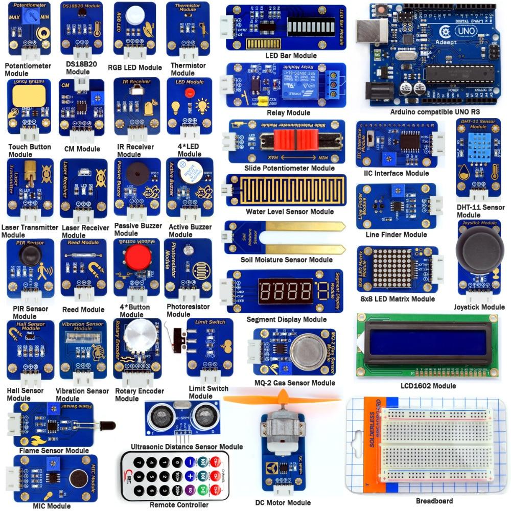 Adeept BRICOLAGE Électrique Ultime Capteur Modules Kit pour Arduino UNO R3 avec Guide de Traitement FreeShipping Livre diykit