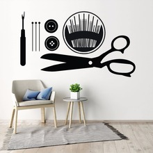 Sewing Wall Art Decals Seamstress Gift Sticker Buttons Pins Tools Mural Removable Shop Decor AY1474