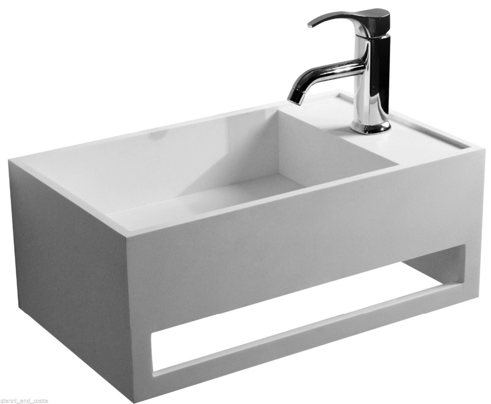 WALL MOUNTED 500MM VANITY COUNTER TOP BASIN STONE SOLID SURFACE MATT WHITE SINK 3877 677