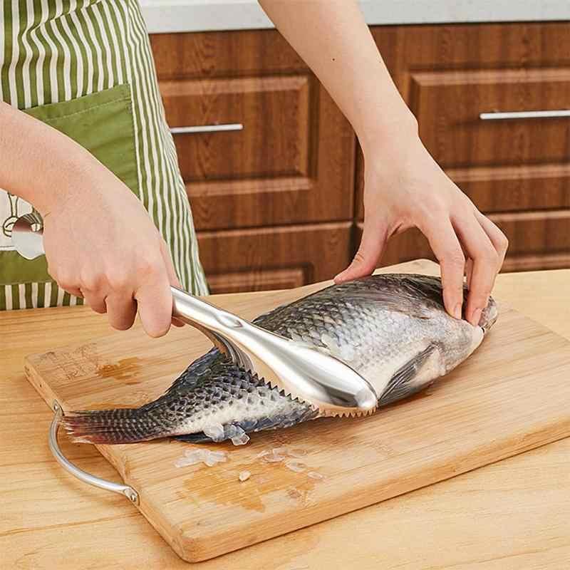 Praktische Rvs Vis Schaal Schraper Cleaner Brush Fish Skin Schaal Dunschiller Remover Vis Schoonmaken Mes Keuken Tool
