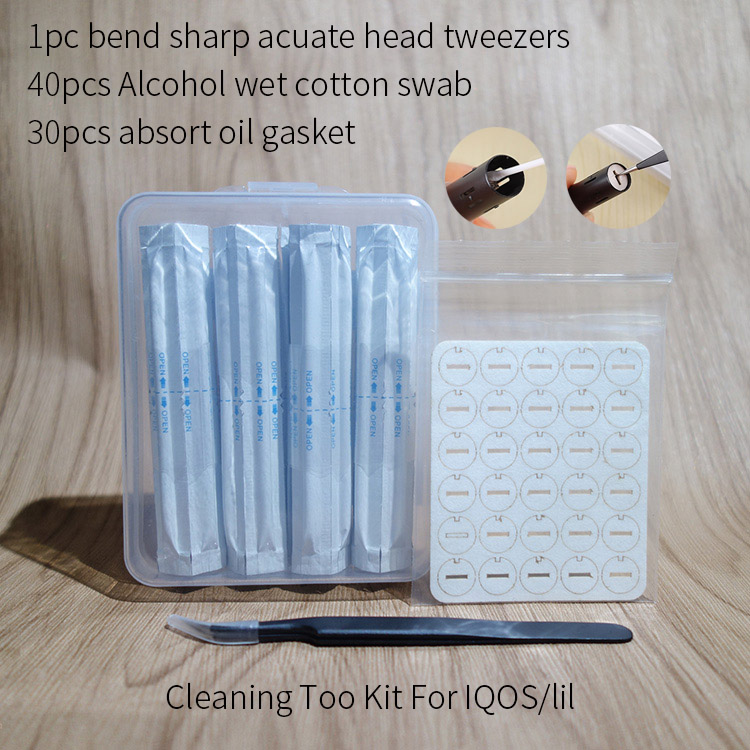 Cleaning Tool Kit For Iqos 2.4 Plus 3.0 Repair Accessory Contains 40pcs Wet Alcohol Cotton Swabs Sticks 30pcs Absort Oil Gasket