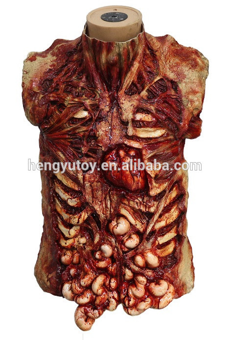 Realistic Lifesize Scary Fake Latetx Gory Halloween Decor Body Part Props Scary Chest Dress Up