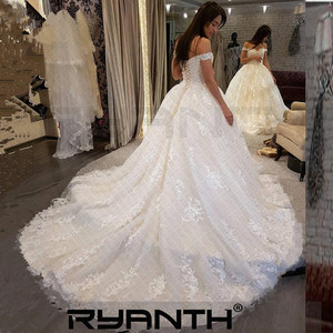 Image 3 - Женское свадебное платье Its yiiya, белое кружевное платье с открытыми плечами на завязках на спине на лето 2019