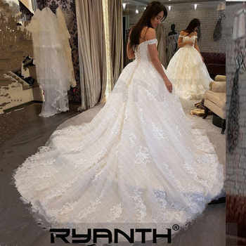 Vestido De Novia Luxury Princess Ball Gown Lace Wedding Dress 2019 Sexy Off The Shoulder Lace Up Back Robe De Mariee Custom Made