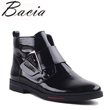 Купить с кэшбэком Bacia 2017 Ankle Boots Women Luxury Genuine Leather Boots Handmade Black Fashion Autumn Boots With Short Plush Women ShoesVXA019