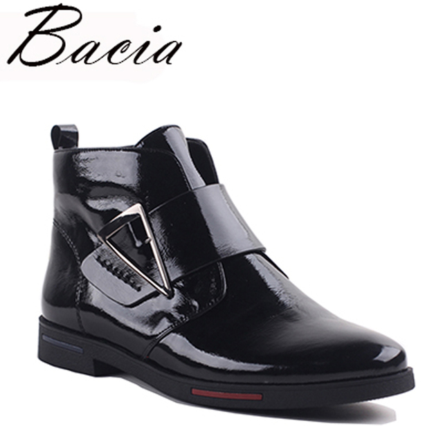 Bacia 2017 Ankle Boots Women Luxury Genuine Leather Boots Handmade Black Fashion Autumn Boots With Short Plush Women ShoesVXA019