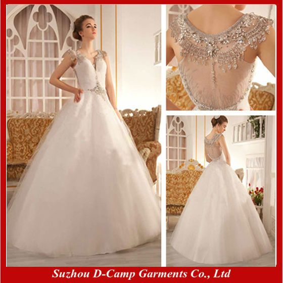 WD 2695 Latest design sheer back no train wedding gown manufacturer ...