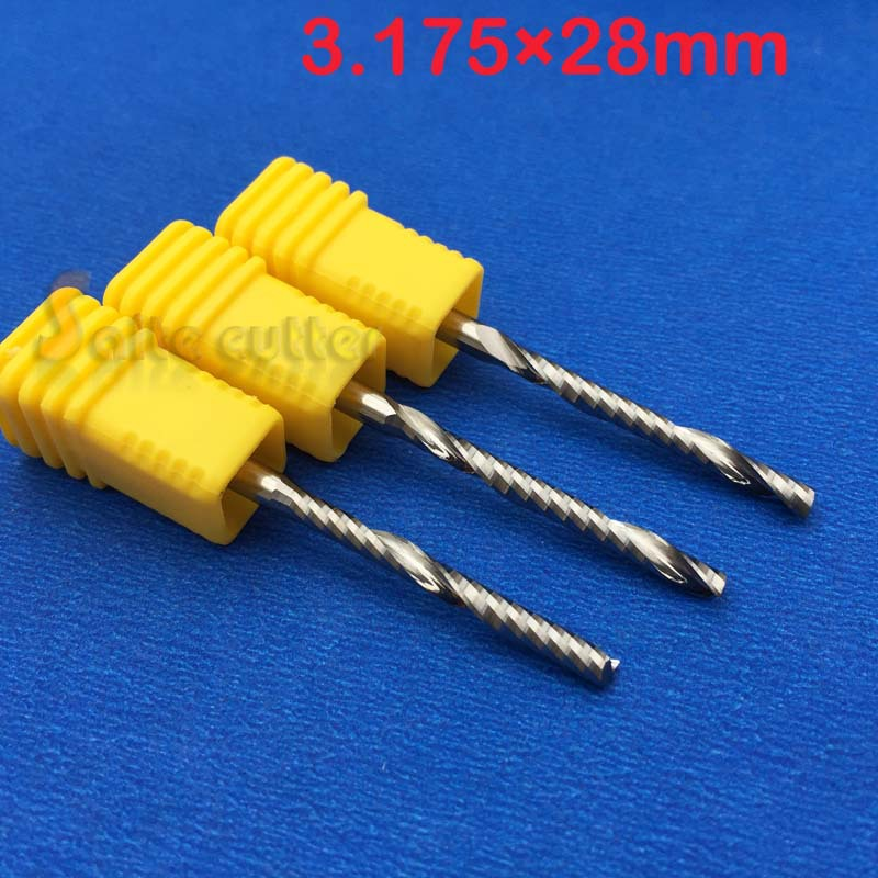 Free Shipping New Arrival 3pcs/set 1/8 AAA 3.175mm High Quality Carbide CNC Router Bits Single One Flute Endmill 28mm