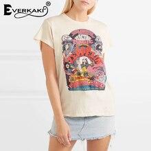 Everkaki Boho Funny Patterns Print T-shirt Tops Women Casual Short Sleeve Cotton Bohemian Top Female 2019 Summer New