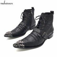 Черные осенние мужские полусапоги острый носок сапоги для мужчин Кружево на шнуровке Botas militares Свадебные модельные туфли Для мужчин S ковбойские сапоги