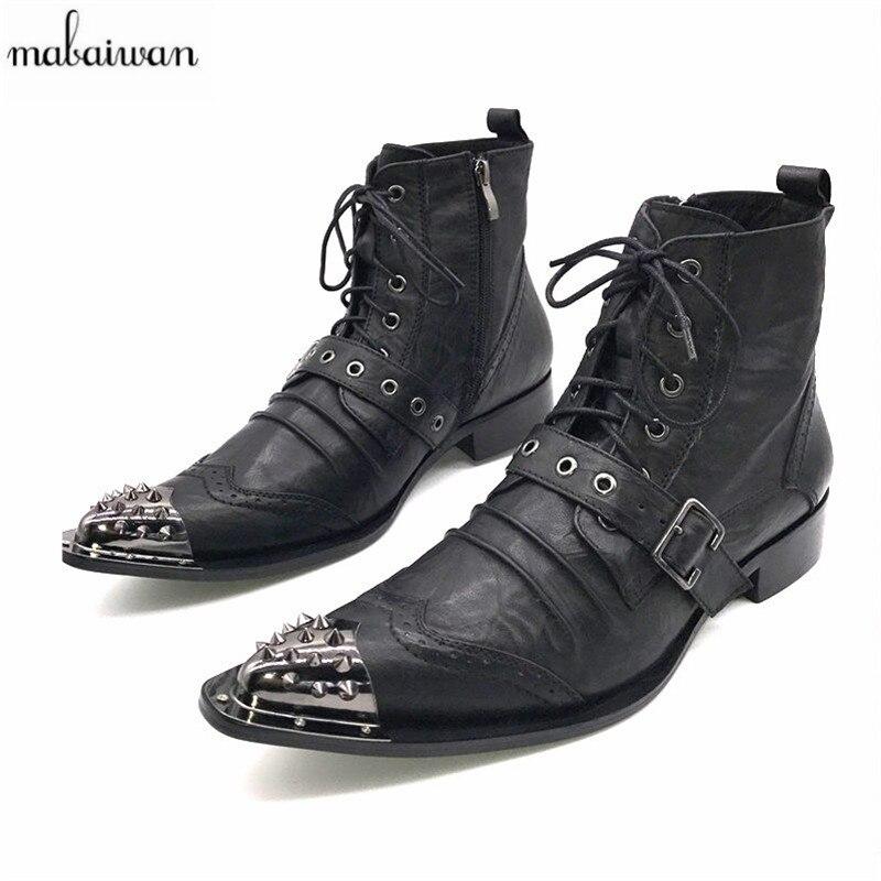 8bd88aaa2 Mabaiwan الأسود أزياء الرجال حذاء من الجلد وأشار اصبع القدم بوتاس هومبر  الدانتيل يصل بوتاس Militares الزفاف اللباس أحذية رجالي أحذية رعاة البقر