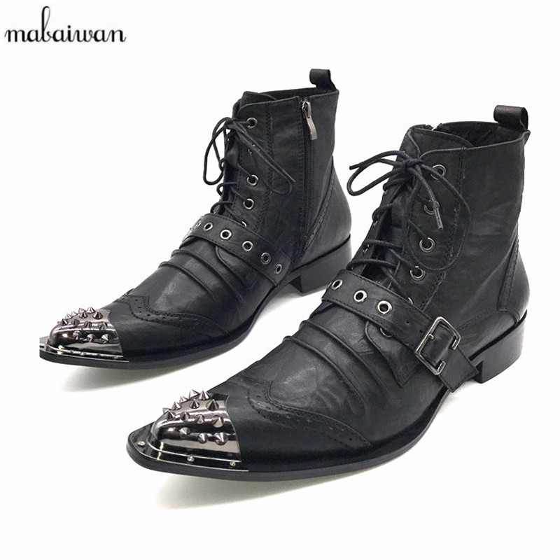 6c0d1e793aa Mabaiwan Black Fashion Men Ankle Boots Pointed Toe Botas Hombre Lace Up  Botas Militares Wedding Dress Shoes Mens Cowboy Boots