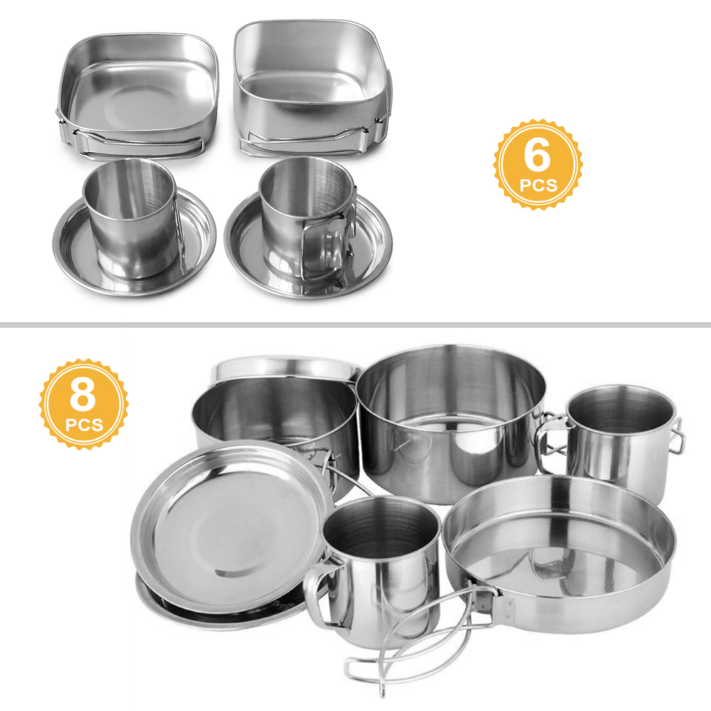 Image 5 - 6 PCS Outdoor Pot Set Camping Soup Coffee Water Cups Stainless Steel Cooking Pans Plates Set for 1 2 People Outdoor Tableware-in Outdoor Tablewares from Sports & Entertainment