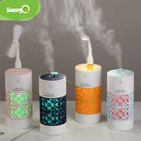 SaengQ 250ml Luftbefeuchter mit LED Nacht Lampe Mini Fan Aroma Ätherisches Öl Diffusor USB Fogger Mist Maker für home Office Auto