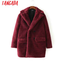 Tangada Wine Red Thick Warm Women Faux Fur Turn Down Collar Double Breasted Coat Winter Pockets Ladies Jacket Female Outerwear