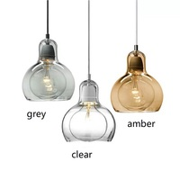 Modern Pendant Lights Clear Glass Lampshade Loft Pendant Lamps for Dinning Room Home Decoration Lighting Amber Glass