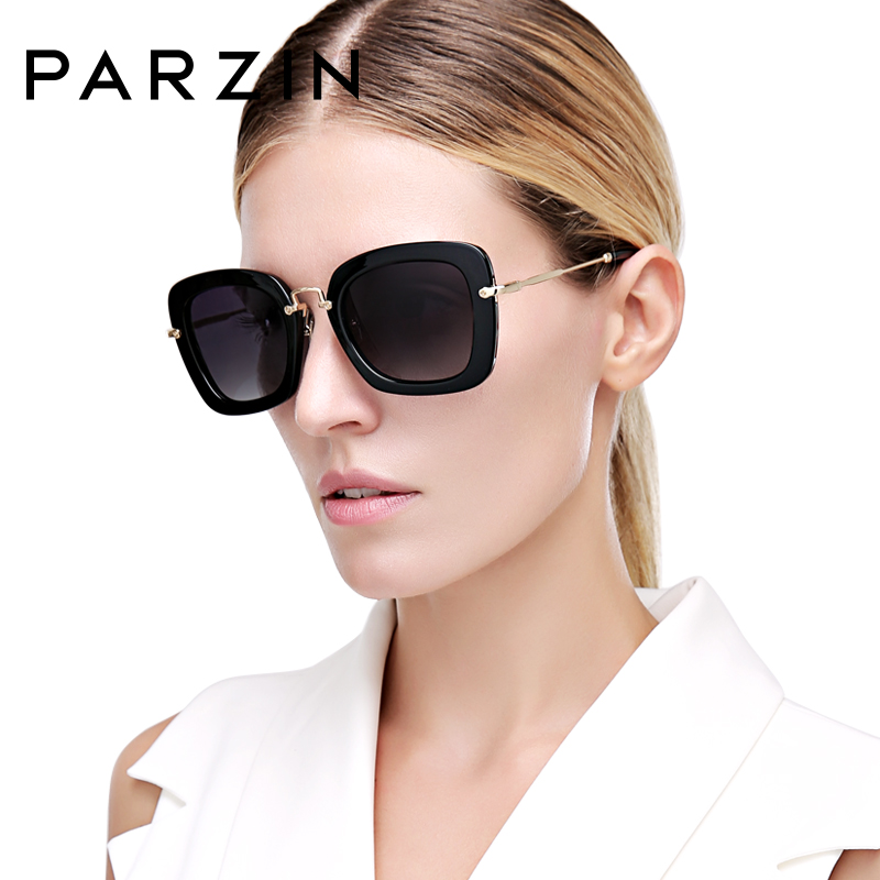 PARZIN Black Square Frame Polarized Sunglasses UV400 Driving Vintage Shades For Women High Quality Eyewear With Accessories 9535