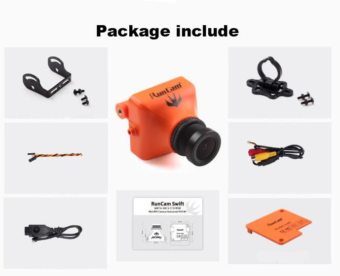 Runcam Swift 600TVL FPV Mini Camera with 2.8mm 1/3 SONY SUPER HAD II CCD lens PAL/NTSC with camera mount bracket OSD menu cable fpv 28 28 1 3 sony super had ccd micro camera lens module 700tvl sku 11553