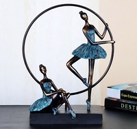 Graceful Vintage Abstract Ballet Girls Figurine Statue Resin Decoration Craft Embellishment for Souvenir Gift and Art Collection