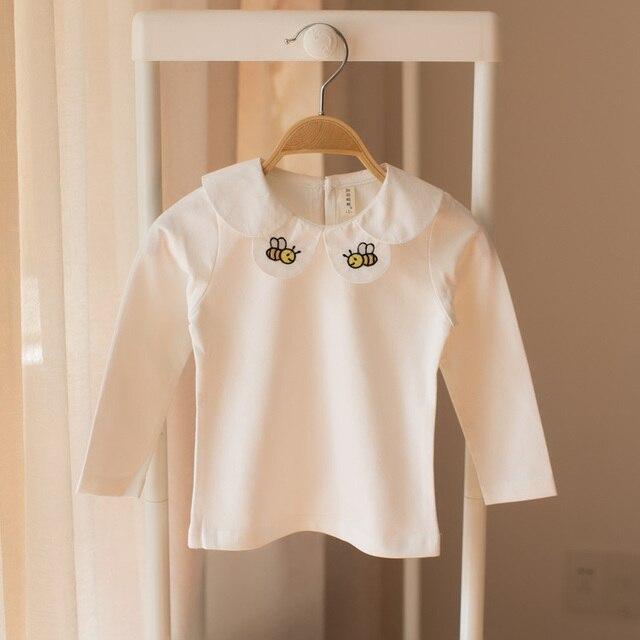 1d82d4e7b 2017 Cute Toddler Kids T-shirt Baby Girls long sleeve peter pan Collar T-Shirt  spring fall Cotton Tops White princess bottoming