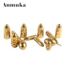 Anmuka 5pcs/lot Copper Bullet Sinker Weight Fast Sinking for Texas Rig Bass Fishing Accessory Lead Sinkers Replacement