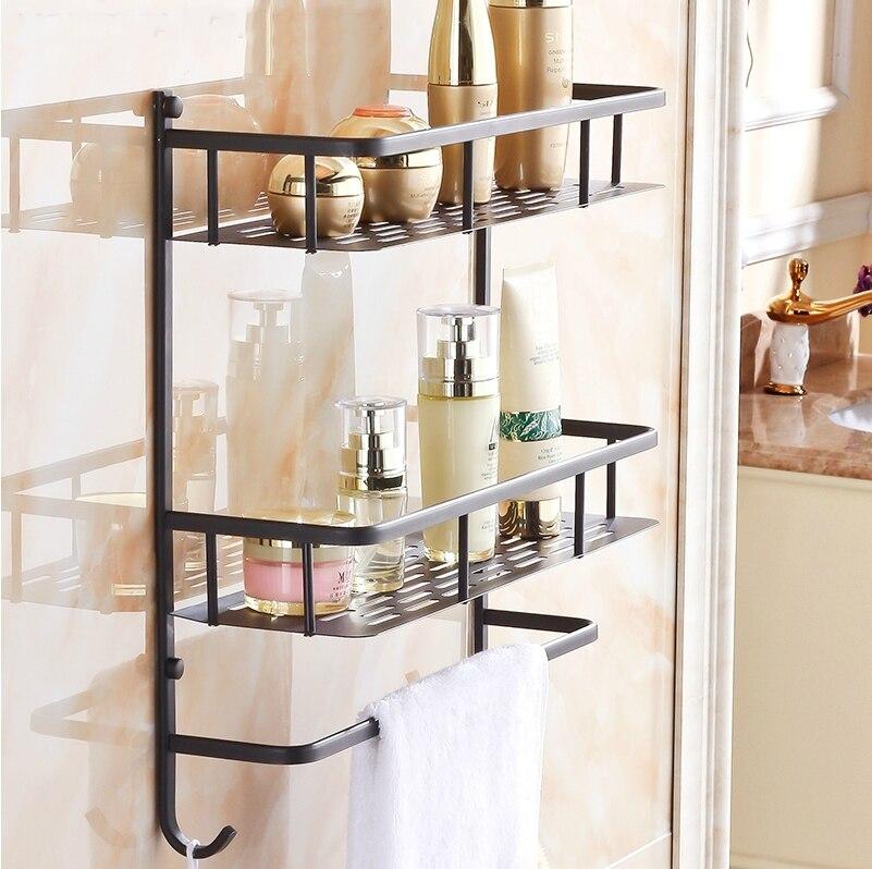 All copper black bathroom shelf bathroom wall storage rack storage ...