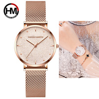 Hannah Martin Women Watches Waterproof Japan Quartz Wristwatches Sparkle Shinning Stainless Steel Ladies Watch Relogio Feminino