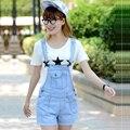 2016 Verão Shorts Jeans Estilo Coreano Plus size Mulheres Macacão Macacão Jeans Casual Calças Meninas Magras Calça Jeans Curto JN402