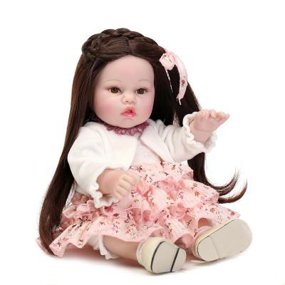 ФОТО NPK 17 inch handmade sprouting girl long hair full silicone doll toy, child holiday gift