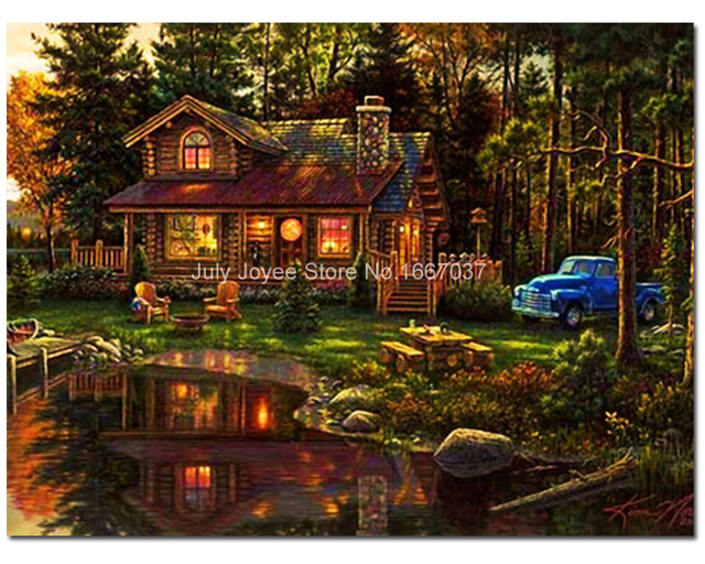 Cottage In Woods Full Diamond Painting Night Scenery Embroidery Lake Landscape Home Decoration Products For