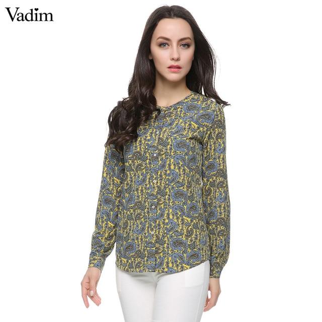 Women paisley pattern blouses plus size vintage long sleeve o neck office work wear shirts casual camisas femininas tops ST2416