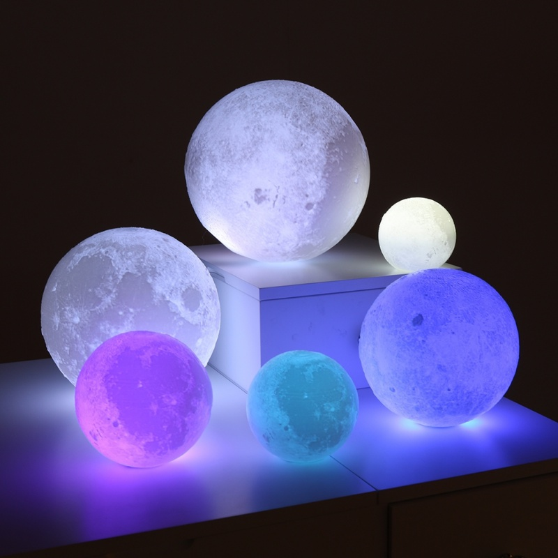 12-15CM Rechargeable 3D Print Moon Lamp 16 Color Remote Control Touch Switch Bedroom Bookcase Night Light Home Decor free ship