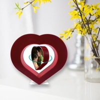 Floating Photo Frame Red Heart Magnetic Levitation Pictures Frame Home Office Decoration Magnetic Suspension Photo Frame