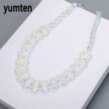 Yumten Fine Women Man Handmade Necklace Natural Stone Fashion Beads Casual Romantic White Opal Pendant Accessories Perlenkette(China)