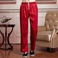 Chinese National Men Satin Tai Chi Pants Kung Fu Trousers Elastic Waist Pants Pantalones M To XXXL 2519-6