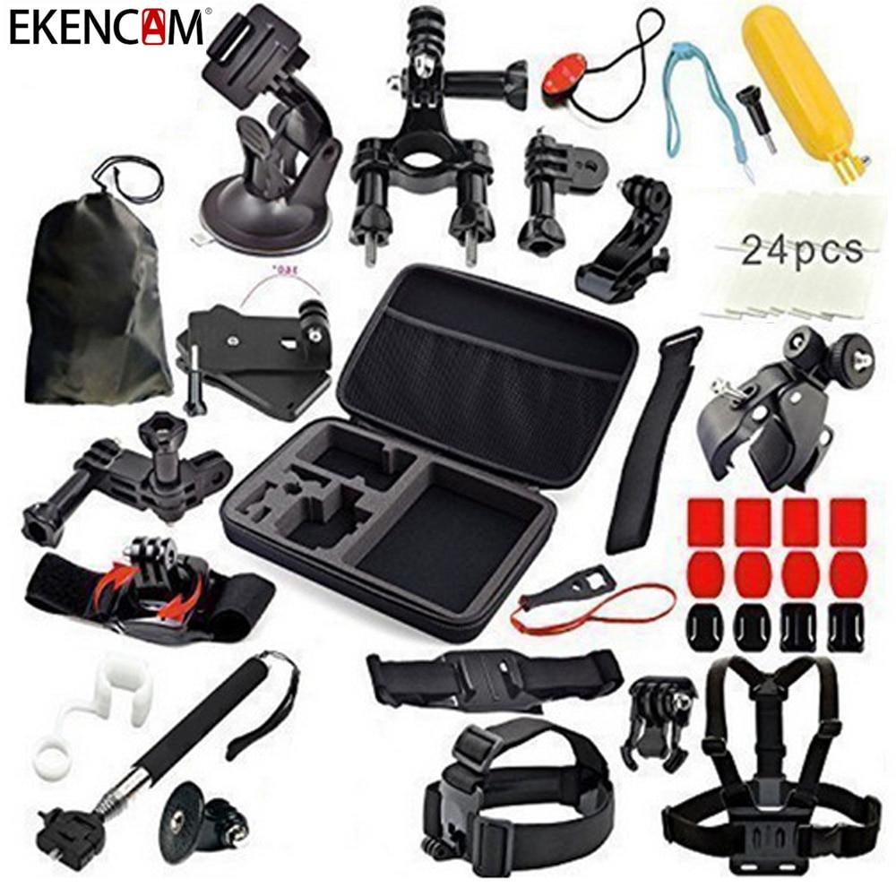 Accessoires de caméra de sport EKENCAM kits 24 en 1 ensemble pour Gopro SJCAM EKEN H9R accessoires de caméra d'action