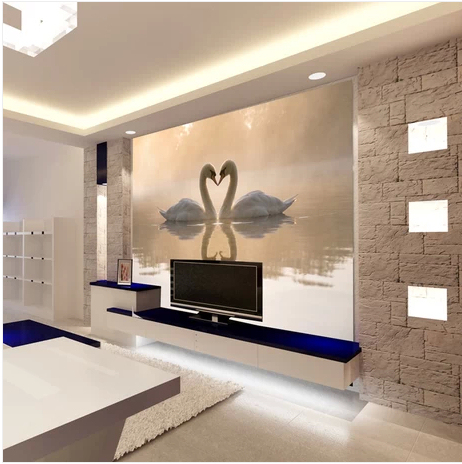 Free shipping large scale mural wallpaper Swan kiss for background wall paper bedroom sofa TV ...