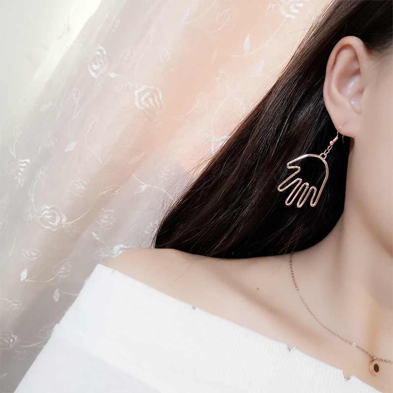 EK2058 جديد عصري موضة الذهب لهجة اليد أقراط للنساء الكورية مجوهرات بسيطة الجوف النخيل إسقاط أقراط بيان بيجو