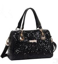 2016 Brand women fashion handbag/pu American-European style shoulder handbag/Boston sequins tote bag/messenger bag/free shipping