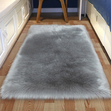Artificial Wool Square Garnish Faux Mat Seat Pad/Carpet Plain Skin Fur Fluffy Area Rugs Washable Home Textile