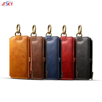 xFSKY Phone Bag For iphone 7 8 plus High capacity Wallet Phone Case Fashion Credit Card Holder PU Leather Back Cover Big Ring